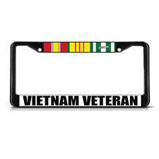 VIETNAM VETERAN Black Metal Heavy Duty License Plate Frame Tag Border