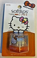 HELLO KITTY Softlips Cube VANILLA Lip Balm SPF 15 New On Card .23oz.