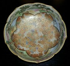 Excellent Condition Japanese Satsuma Koshida Gilt Flowers Scalloped Rim Bowl