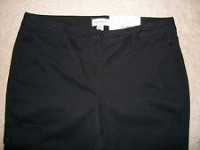 NWT Liz Claiborne Women Size 10 City Ankle Stretch Cargo Black Pant Inseam 24.5""