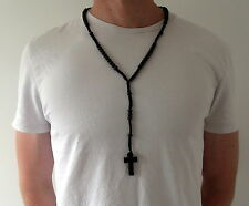 "Rosary Black Bead Necklace Mens Womens 30"" with Wooden Holy Cross Pendant"