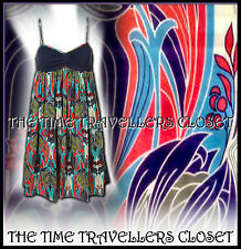 KATE MOSS TOPSHOP BLUE WHITE RED GREEN NAVY LIBERTY NOUVEAU SUN DRESS UK 12 14