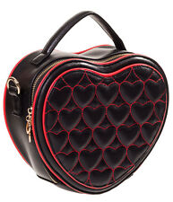 Banned Rockabilly 50s Heart Shaped Quilted Small Bag Handbag Black Red