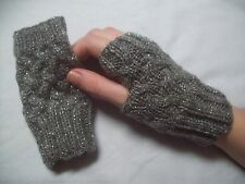 LADIES hand knitted FINGERLESS GLOVES wristwarmers GREY GLITTER one size NEW