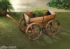 WOOD Wine whiskey BARREL outdoor Wagon Flower garden planter plant pot stand