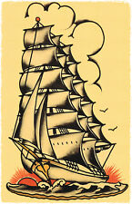 109  vintage Sailing Navy Ship Sailor Jerry Traditional style Flash poster print