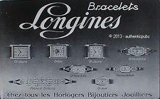 PUBLICITE LONGINES BRACELETS MONTRES HORLOGER JOAILLIER DE 1929 FRENCH AD WATCH