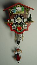 vintage 50s Black Forest wall clock cuckoo clock with swinging Lady W-Germany