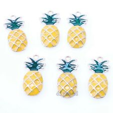 15x Fashion Gold Plated Yellow Green Enamel Pineapple Alloy Pendants Findings D