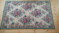 Outstanding large vintage needlepoint floral diaper pattern rug/wall hanging
