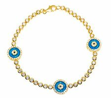 Sterling Silver 925 CZ Turkish Nazaar Blue Evil Eye Bracelet Yellow Gold