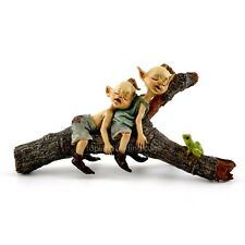 Miniature Twin Garden Pixies Napping on Tree Log T 4384 /Fairy Gnome  Garden