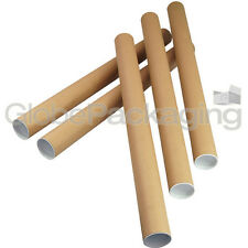 10 x A1 Quality Postal Cardboard Poster Tubes Size 630mm x 50mm + End Caps