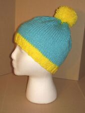 Hand Knit Hat/Beanie - Blue & Yellow cartman like beanie