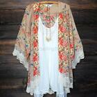 Summer Casual Women Blouse Coat Lace Flower Loose Shawl Kimono Cardigan Jacket