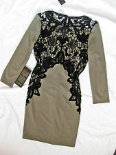 BEBE OLIVE GREEN BLACK LACE APPLIQUE 3/4 SLEEVE DRESS NWT NEW MEDIUM M