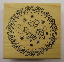 Butterflies in Flower Circle Rubber Stamp by DeNami Design
