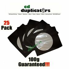 25 Black CD DVD Paper Sleeves 100g Premium Quality W/ Window & Flap