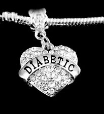 Diabetic charm  medical charm  fits European bracelet or necklace  Crystal Heart