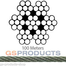 100 metres 3mm Steel Wire Rope (7x7) Galvanised Catenary Wire Rope FREE DELIVERY