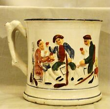"""Early Staffordshire Relief Molded Hidden Frog Large Tavern Mug 19th c 5 1/2"""" dia"""