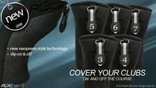 HYBRID HEAD COVERS FULL COMPLETE 3 4 5 6 7 SET THICK GOLF CLUB BLACK HEADCOVER