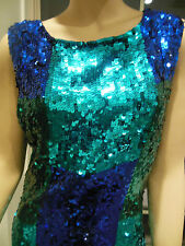 SEQUINED COLOR BLOCK WIGGLE DRESS - SIZE M -TURQUOISE-EMERALD GREEN -COBALT BLUE