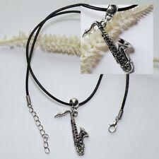 Halskette * SAXOPHON * Lederband schwarz-silber JAZZ musical Saxofon Instrument