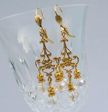 Clear Crystal Gold Plate Bollywood Indian Style Chandelier Tango Earrings #A