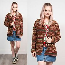 WOMENS VINTAGE 90'S BOHO STRIPED PATTERN BLAZER JACKET TAPESTRY STYLE HIPPIE 18