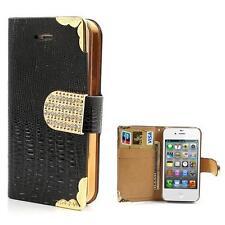 Tasche Schutz Hülle Flip Case für Iphone 4 4S STRASS KROKO SCHWARZ GOLD 7U