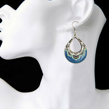 NEW Womens Vintage Boho Bohemian Teardrop Blue Painting Fashion Earrings #800375