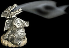 Silver smoking dragon incense cone holder.10CM TALl-PERFECT GIFT