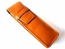 Tan Napa Leather Double Flap Pen/Pencil Case/Pouch