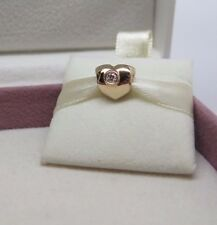 New w/Heart BOX Pandora Gold Heart 14K 585 & Diamonds Charm #750294D
