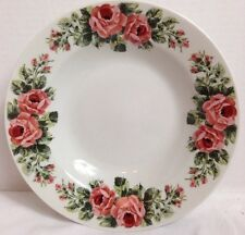 """Set of 4 Gibson Housewares Pink Roses Rimmed Soup / Cereal Bowl 8"""""""