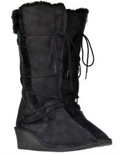 Womens Girls ELLA FUR LINED WINTER WARM LACE DETAIL BOOTS WEDGE HEEL BLACK UK 3