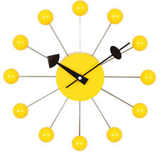 George Nelson BALL Clock Wall Clock Free US Ship OFFICIAL Wood Zinc NEW Yellow