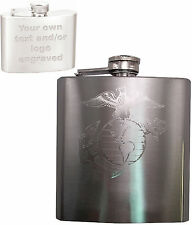 6oz USMC Engraved Hip Flask w/ Funnel, Marine Corps - Your Text Personalized