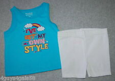 Toddler Girls Short Outfit GARANIAMLS I've Got My Own Style AQUA TANK 12 Months