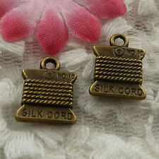 free ship 58 pieces bronze plated cord charms 15x11mm #4129