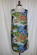 TALBOTS Size 14 Dress Blue Orange Brown Floral Tropical Hawaiian 100% Cotton
