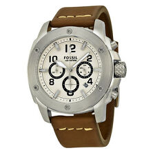 Fossil Men's FS4929 Modern Machine Chronograph Cream Dial Brown Leather Watch