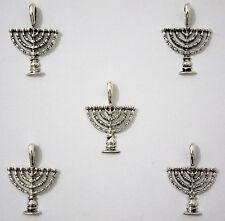 Lot of 5 - Hanukkah Israel Menorah Jewish Judaica Pendants  - DIY Jewelry Kits