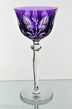 Bohemian English French German Amethyst Purple Cut to Clear Crystal Wine Goblet