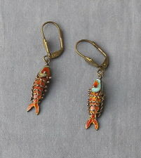 Vintage Chinese Enamel Articulated Fish Drop Dangle Earrings