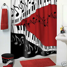 Jazzy Music Red, Black, White Bathroom Accessories 5 pc Set - Shower Curtain