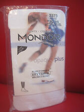 Mondor Child 10-12 #3373 White Footless Skating Tights With Gusset OPAQUE PLUS