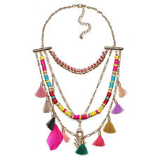 Ethnic Colorful Bead Feather Pendant Tassel Bib Gold Plated Chain Women Necklace