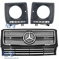 Mercedes G-Class W463 Front Grille G63 AMG Look Black +Headlights Covers LED DRL